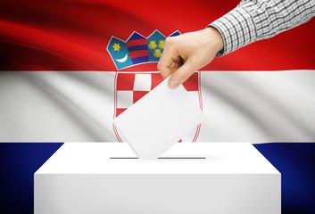 Ballot box with national flag on background - Croatia