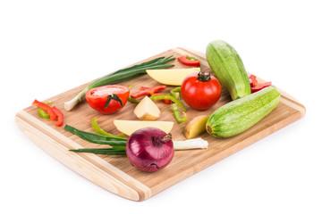 vegetables on wooden platter