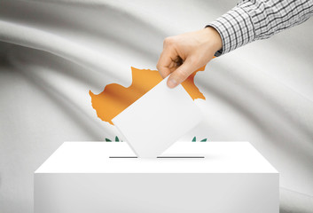 Ballot box with national flag on background - Cyprus