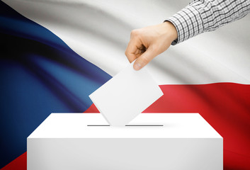 Ballot box with national flag on background - Czech Republic