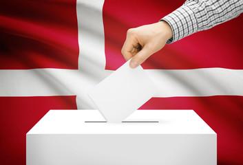 Ballot box with national flag on background - Denmark