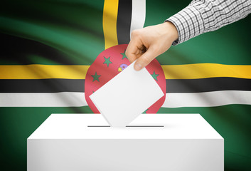 Ballot box with national flag on background - Dominica