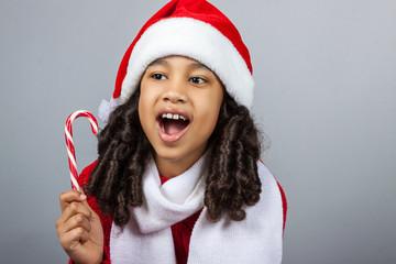 girl with a New Year gift. Joyful girl