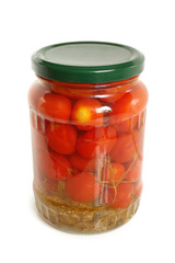 Cherry tomatoes canned in glass jar