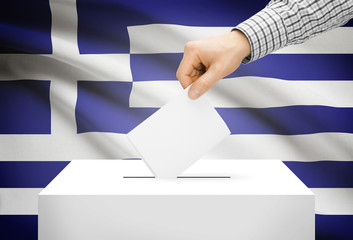 Ballot box with national flag on background - Greece