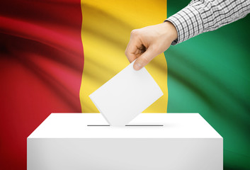 Ballot box with national flag on background - Guinea