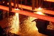 canvas print picture - Stranggußanlage - Stahlbillets beim Brennschneiden