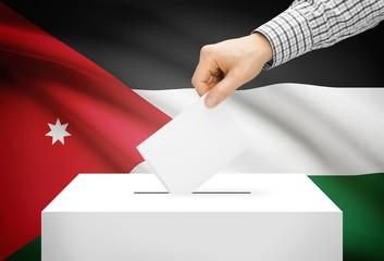 Ballot box with national flag on background - Jordan