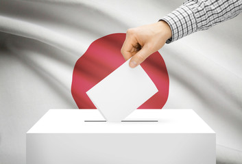 Ballot box with national flag on background - Japan