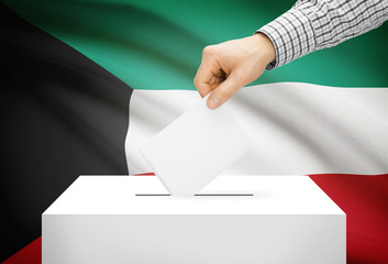 Ballot box with national flag on background - Kuwait