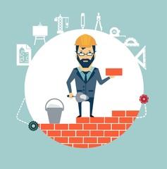 architect building a house brick by brick illustration