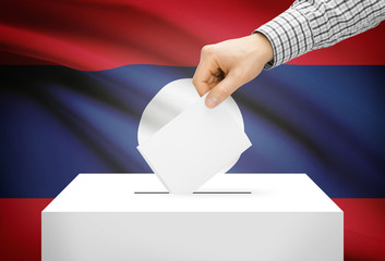 Ballot box with national flag on background - Laos