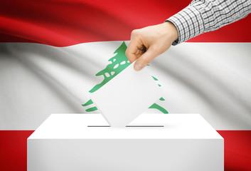 Ballot box with national flag on background - Lebanon