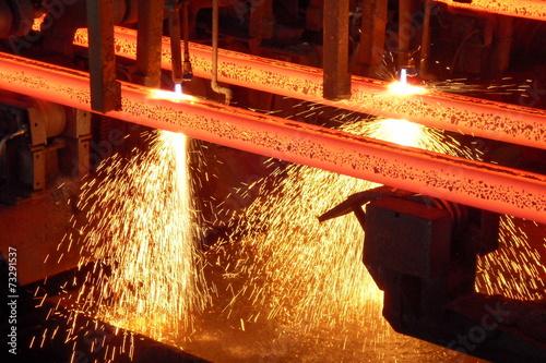 canvas print picture Stranggußanlage - Stahlbillets beim Brennschneiden
