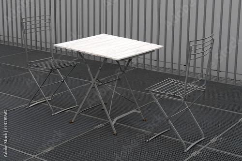 canvas print picture Tisch mit Stühlen