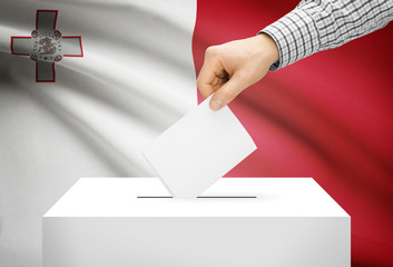 Ballot box with national flag on background - Malta