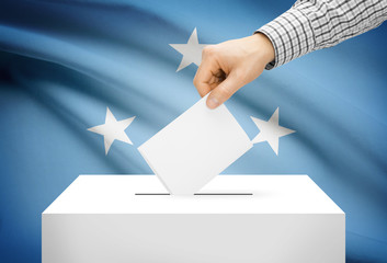 Ballot box with national flag - Federated States of Micronesia