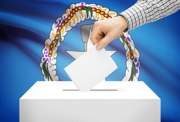 Ballot box with national flag on background - Northern Marianas