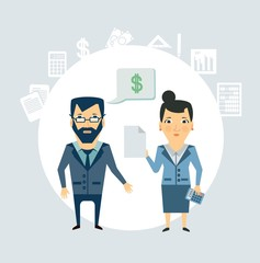 Accountant tells the client illustration