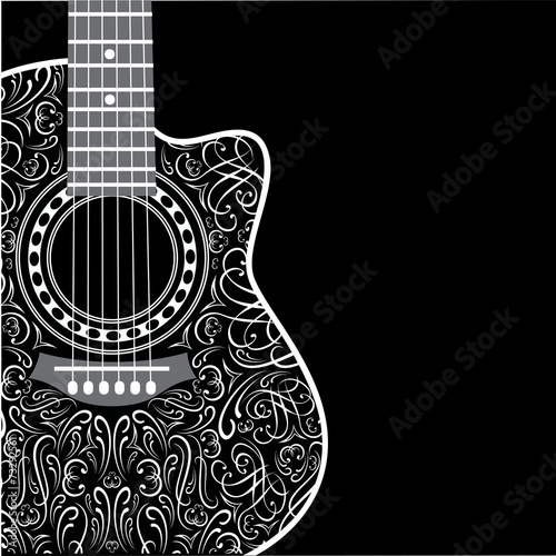 background with clipped guitar and stylish ornament - 73292561