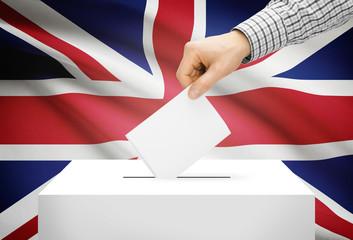 Ballot box with national flag on background - United Kingdom