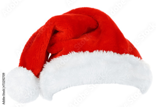 Leinwanddruck Bild Santa hat isolated on white