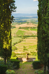 View from the garden on Tuscan fields, Italy
