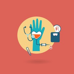 criteria of health, weight, pressure, pulse donor icon