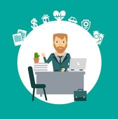 insurance agent sitting at a desk illustration