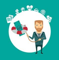 insurance agent keeps a lifeline with money illustration