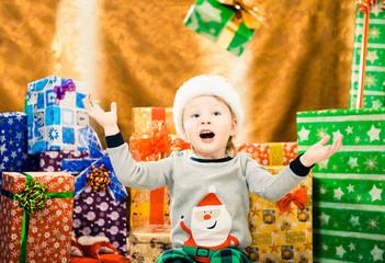 boy catching Christmas present