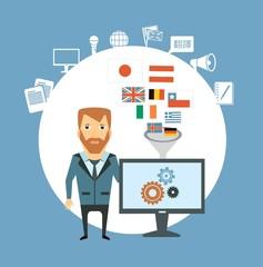 translator  works at the computer illustration