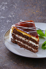piece of delicious dessert festive cake with chocolate