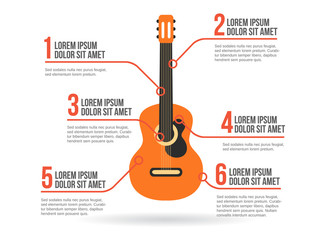 Classic guitar icon vector infographic