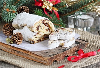 Stollen.Traditional German Christmas cake on a wooden table
