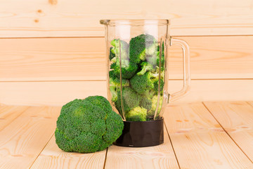 Fresh healthy broccoli in blender
