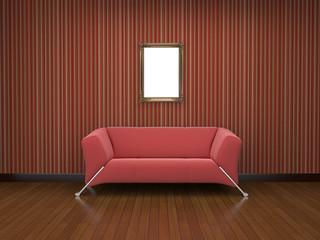 red cloth sofa