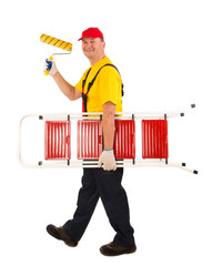 Worker with roller.
