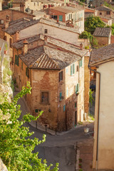 Old streets in the Tuscan town of Montepulciano, Italy