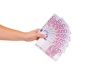 hand holding five hundred euro bills