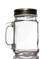 Blank Jar Glass on White background