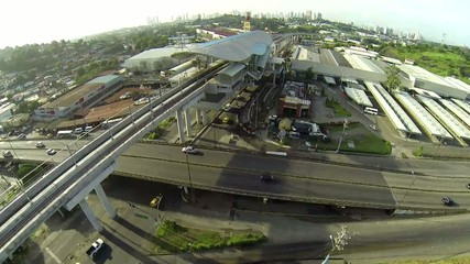 Aerial view of early morning traffic on Panama City.