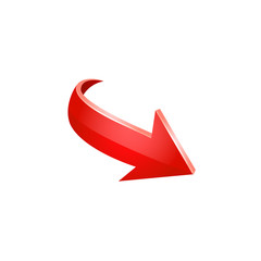 Red arrow vector icon.