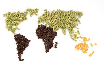 Weltkarte mit Food als Freisteller