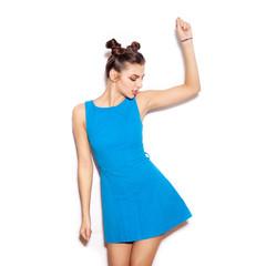 Happy young woman dancing
