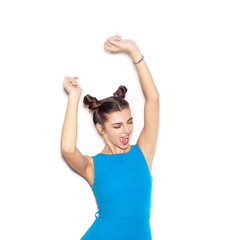 Close-up portrait of young happy woman dancing