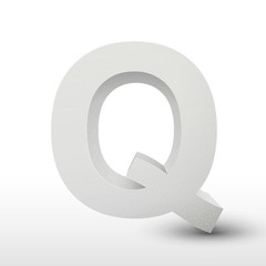 white letter Q isolated on white