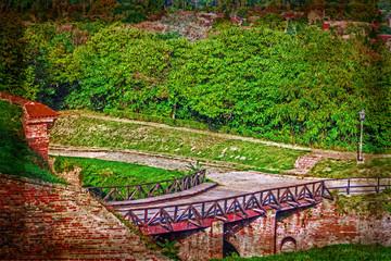 Old postcard with Petrovaradin fortress in Novi Sad, Serbia 8