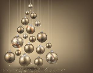 Christmas tree with golden christmas balls.