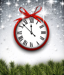 New year clock with starry background.